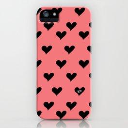 Retro Hearts Pattern iPhone Case