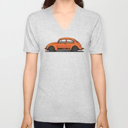 Legendary Custom Orange Bug Vintage Retro Cool German Car Wall Art and T-Shirts Unisex V-Neck