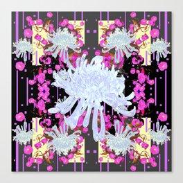 Black & Grey  Decorative Modern White Mums Patterns Flowers Canvas Print