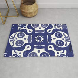 Talavera Mexican tile inspired bold Day of the Dead blue and white pattern Rug