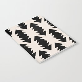 Southwest Criss Cross Pattern in Black and Off White Almond Notebook
