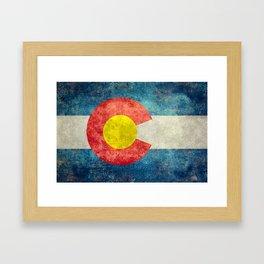 Colorado State Flag in Vintage Grunge Framed Art Print