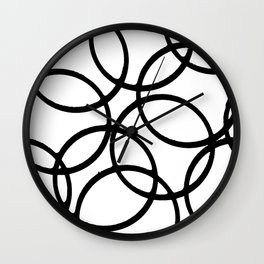 Interlocking Black Circles Artistic Design Wall Clock