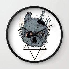Frogs On Skull Wall Clock