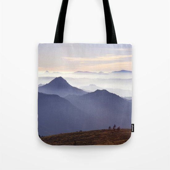 """""""Sunset at the mountains III"""" Tote Bag"""
