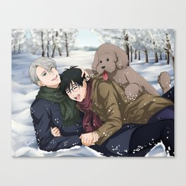 YOI Family Playing in the Snow Canvas Print