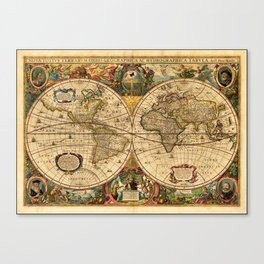 1663 Orbis Geographica Old World Map by Henri Hondius Canvas Print