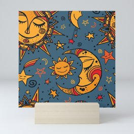 Cute, Sun, Moon & Star Pattern Mini Art Print