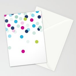 CUTE CONFETTI SPOTS - bright colorful - pink, aqua blue, mint, navy Stationery Cards