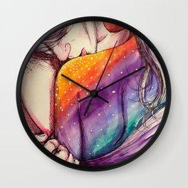 cosmic shoulder kiss Wall Clock