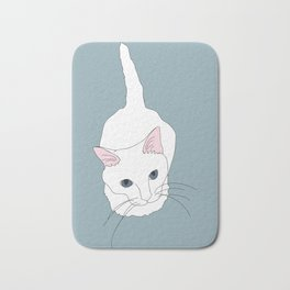 Kitty cat Illustrated Print White Pink Blue Bath Mat