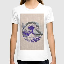 The Great Wave off Kanagawa Eruption Tan T-shirt