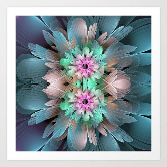 Soft coloured Twin Flowers Art Print