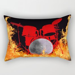 Flaming Red Drum Set Rectangular Pillow