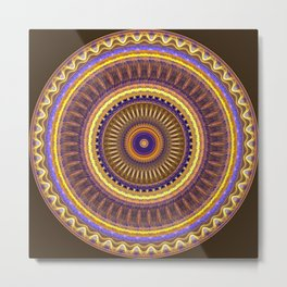 Groovy mandala with waves and tribal patterns in brown, yellow, blue and purple Metal Print