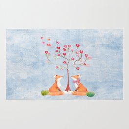 Fox love- foxes animal nature _ Watercolor illustration Rug