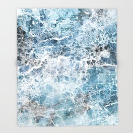 Sea foam blue marble Throw Blanket