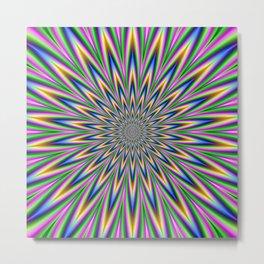 Blue Pink Green and Violet Star Burst Metal Print