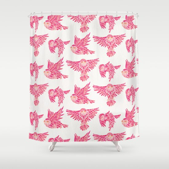 Owls in Flight – Pink Palette by catcoq