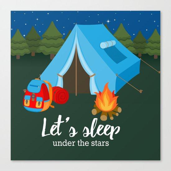 Camping blue tent Canvas Print
