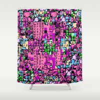 kirby Shower Curtains featuring Kirby Error by Coolthulhu