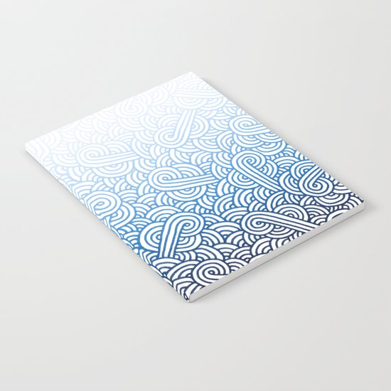 Gradient blue and white swirls doodles Notebook