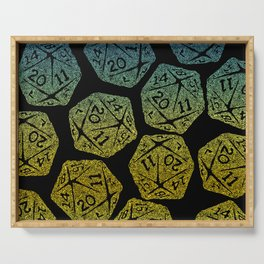 d20 dice pattern - yellow and blue gradient over black - icosahedron Serving Tray