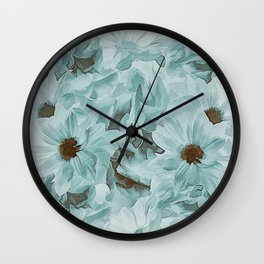 Soft Slate Blue Floral Abstract Wall Clock