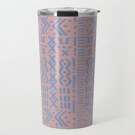 Mudcloth No. 1 in Blush + Dusty Blue Travel Mug
