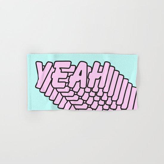 YEAH Typography Pink Blue Hand & Bath Towel