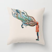 huebucket Throw Pillows featuring Octopus in me by Huebucket