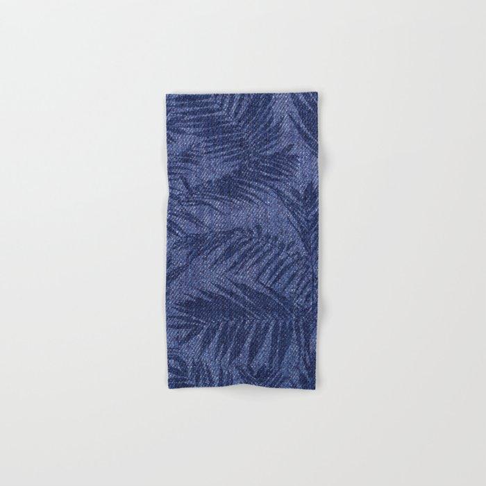 Tropical pattern on blue jeans Hand & Bath Towel