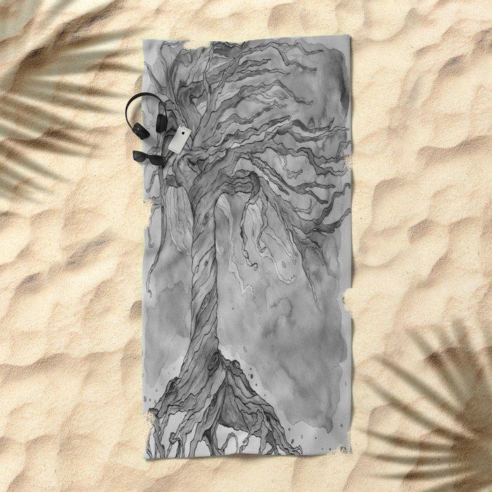 Tree of Life (Grey Scale) Beach Towel