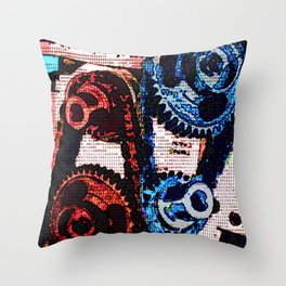 Dual Gears Throw Pillow