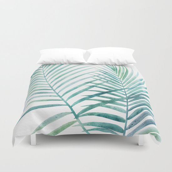 Twin Palm Fronds - Teal by kristiangallagher