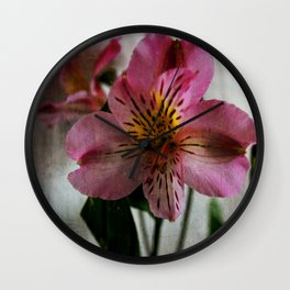 Textured Lily of the Incas Wall Clock