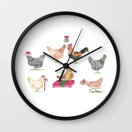 Christmas Chicken Group Wall Clock