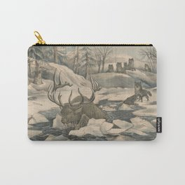 Vintage Wolf Pack Hunting a Moose Illustration Carry-All Pouch