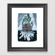 Crystal Island in Grey and Blue Framed Art Print