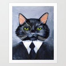 Black Cat in Suit Art Print