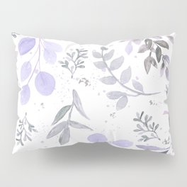 Modern lilac lavender gray watercolor floral leaves Pillow Sham