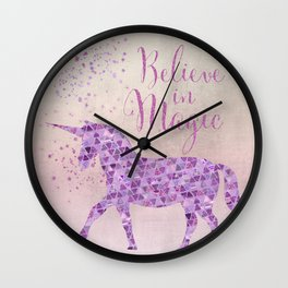 Pink and Purple Glamour Unicorn Believe in Magic Wall Clock