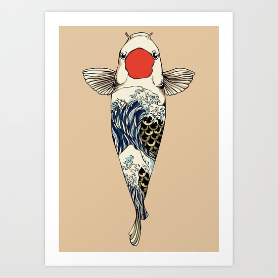 The Great Wave Of Koi Art Print