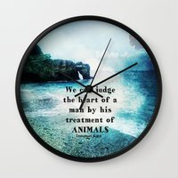 vegetarian Wall Clocks featuring Vegetarian Quote Immanuel Kant Saying Art Beach ocean nature by greenturtle