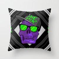 hip hop Throw Pillows featuring Hip Hop 4 life by Mike Karolos