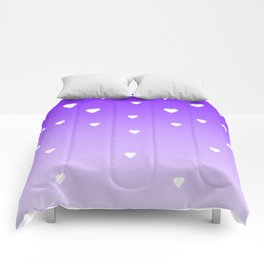 Purple Ombre with White Hearts Comforters