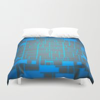 tron Duvet Covers featuring Turquoise Blue & Gray Computer by PureVintageLove