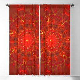 Mandala Thin Lines Warm Colors Red Background Blackout Curtain
