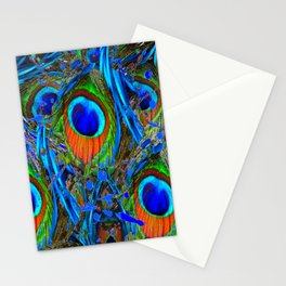 FEATHERY BLUE PEACOCK ABSTRACTED  FEATHERS ART PILLOWS Stationery Cards