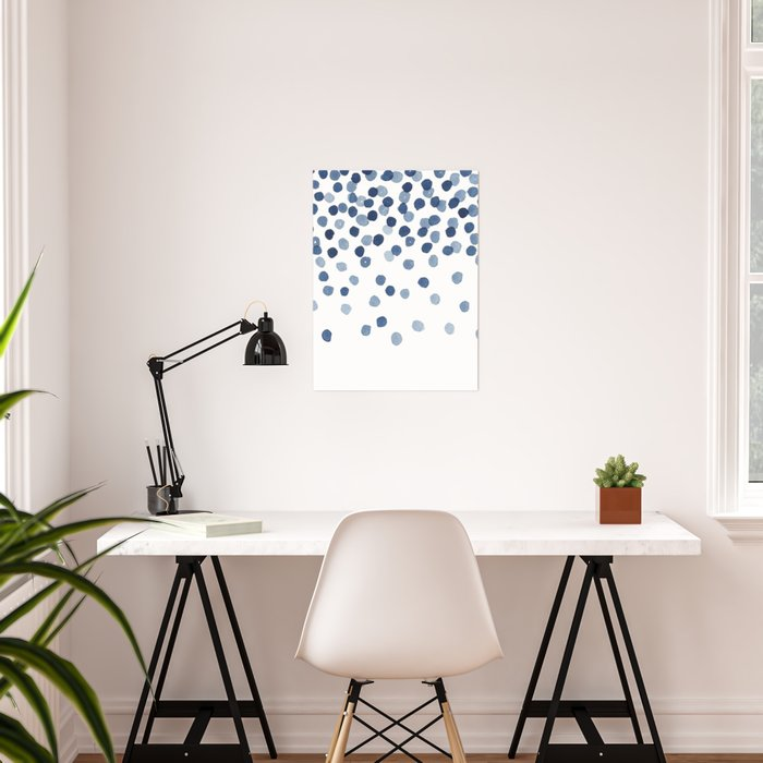 Blue Confetti Falling From the Sky Poster